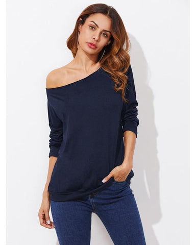 Isabelle Off the Shoulder Bardot T-Shirt in Navy