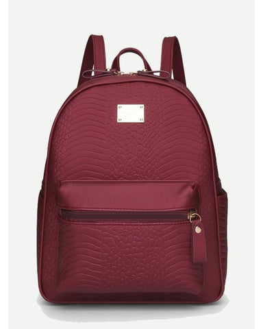 Aoife Snakeskin Print PU Backpack in Wine