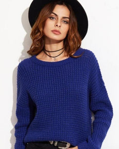 Carlisia Off the Shoulder Waffle Knit Sweater in Blue