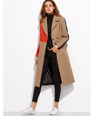 Hailey Colourblock Double Breasted Coat