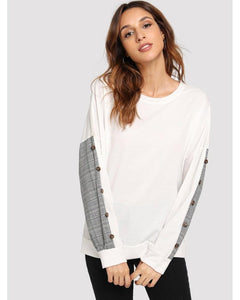 Whitney Plaid Button Panel Sweatshirt in White