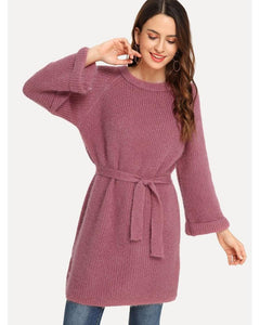 Kelly Solid Longline Sweater in Pink