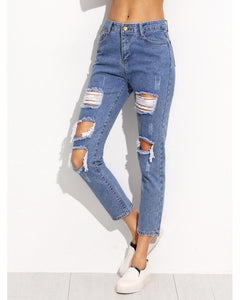 Jessie Distressed Ankle Jeans in Light Blue