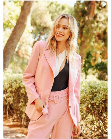 Harrow Patch Pocket Front Blazer in Pink