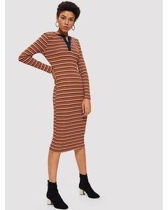 Jane Ribbed Knit Striped Dress