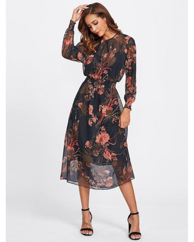 Kelly Floral Mesh Midi Dress