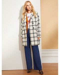 Jane Double Button Plaid Coat