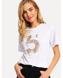 Callie Pearl Beaded Applique T-Shirt