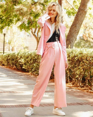 Harrow Frill Trim Belted Pants in Pink