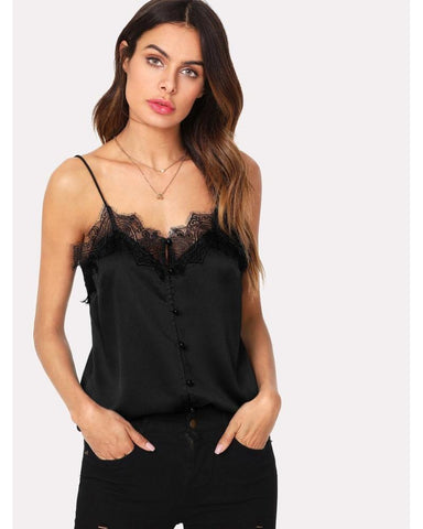 Yvonne Eyelash Lace Button Up Cami in Black