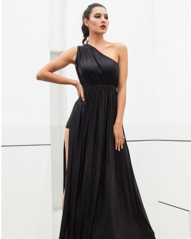 Bella One-Shoulder Cut Out Ankle Length Dress