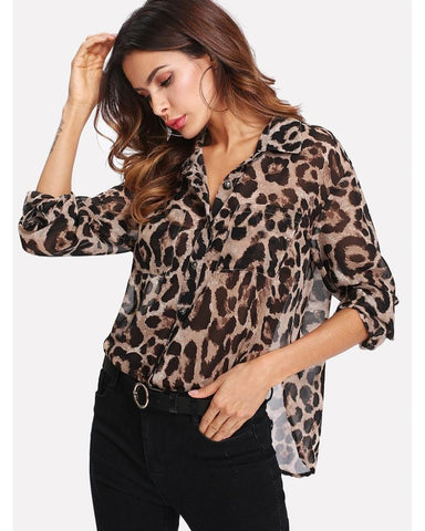 Nisha Leopard Print Blouse in Brown