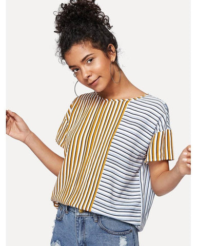 Nadine Drop Shoulder Mixed Stripe Top