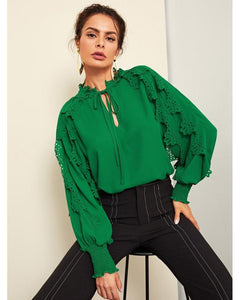 Leonie Tie Neck Shirred Panel Laser Cut Top in Green