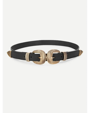 Betty Double Buckle Belt in Gold