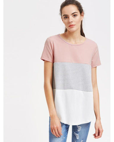 Rachel Striped Cut And Sew Curved Hem Tee