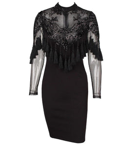 Laurie Sequin Lace and Tassel Poncho Bodycon Party Dress