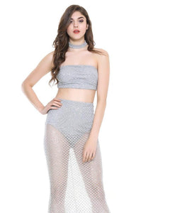 Kay Sequin Lattice Beaded Bandeau and Skirt Two Piece Set