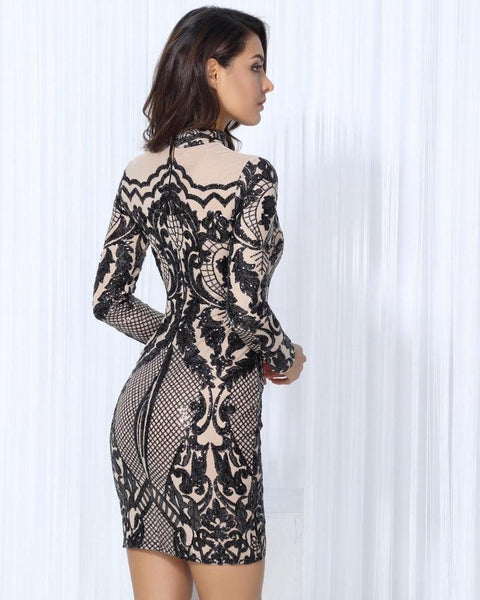 Jenny Geometric Sequin Overlay Long Sleeve Party Dress