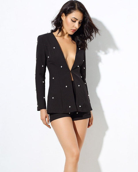 Lucy Pearl Beaded Two Piece V Neck Jacket and Shorts