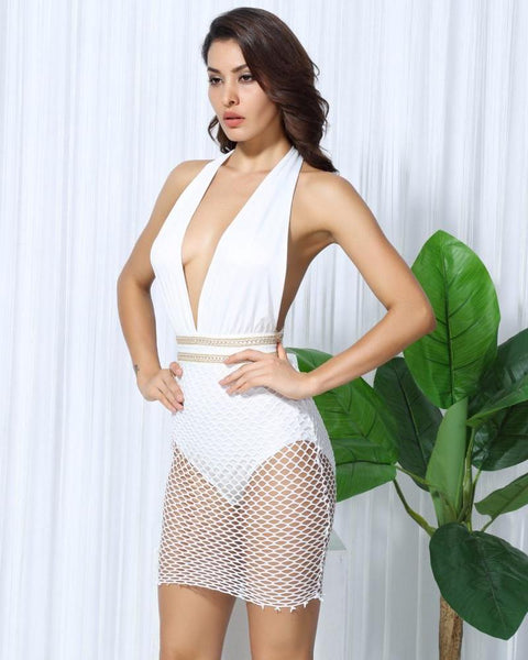 Dani Deep Plunge V Neck Bodysuit Mesh Skirt and Metal Chain Party Dress