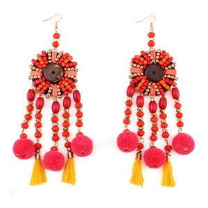 Lia Long Chunky Pom Pom and Tassel Pendant Drop Earrings