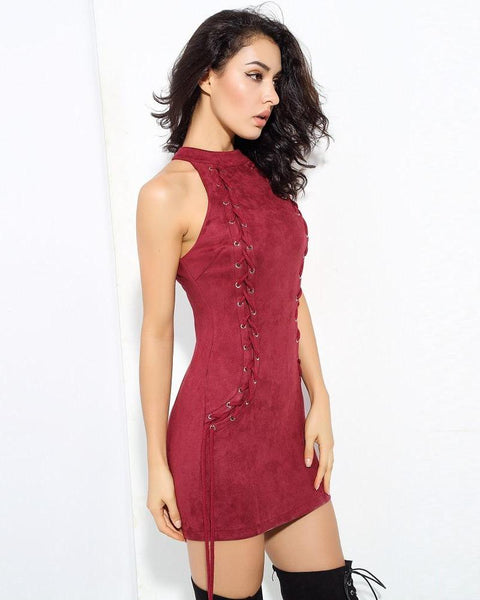 Sarah High Neck Eyelet and Lace Up Bodycon Dress