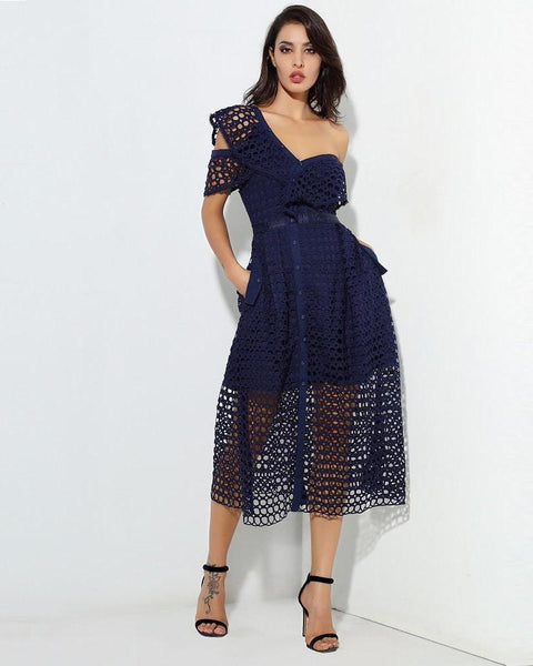 Kim Mesh Lace Overlay Asymmetrical Party Dress