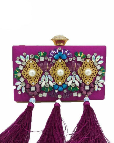 Ellie Crystal Rhinestone Beaded Satin Tassel Clutch Bag