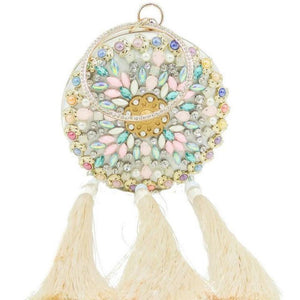 Adalynn Diamonte and Pearl Beaded Tassel Clutch Bag