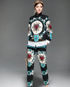 Elizabeth Long Sleeve Printed Blouse and Pants Set