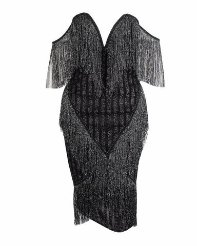 Daisy Sequin Striped Mesh Plunge V Neck and Tassel Fringing Party Dress