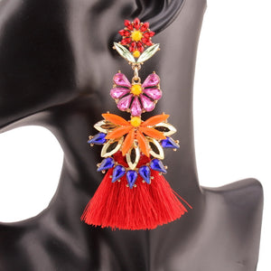 Brielle Chunky Tassel and Crystal Flower Pendant Drop Earrings