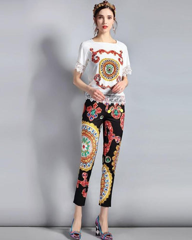 Victoria Lace Edged Embellished Blouse and Printed Capri Pant Set