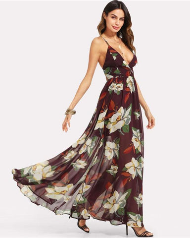 Maya Wrap Over Deep V Neck Spaghetti Strap Floral Print Maxi Dress