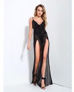 Serena Sequin Deep Plunge V Neck Open Back Cut Out Long Dress