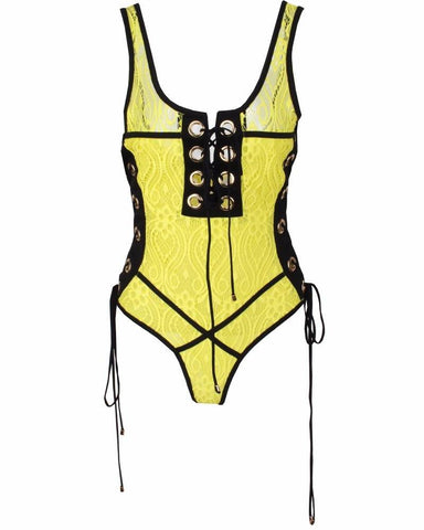 0b5f165cf8 Erica Lace Mesh Eyelet Detail Laced Up Swimsuit
