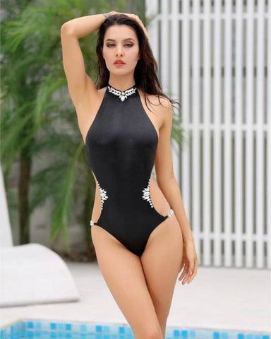 Alexandra Crystal Embellished Cut Out Swimsuit