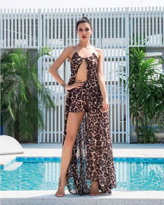 Christie Leopard Print Deep V Neck Chiffon Shorts and Cape Top Two Piece Set