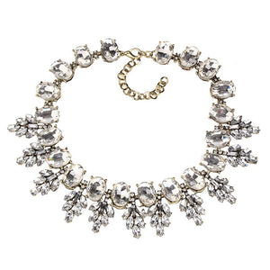 Abigail Crystal Rhinestone Flower Choker Necklace