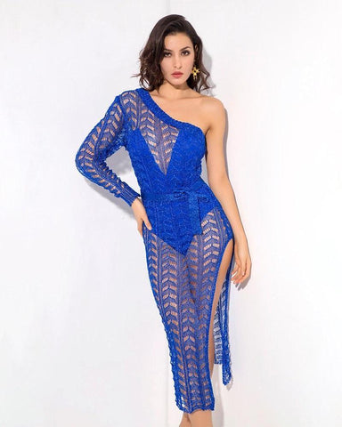 Elena Cut Out Knit Cover Up Dress in Royal Blue