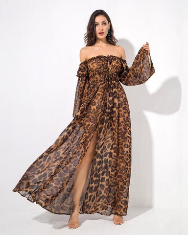 Molly Leopard Print Off the Shoulder Speaker Sleeve Maxi Dress