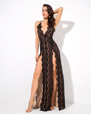 Mariah Lace Deep V-Neck Open Back Cut Out Ankle Length Dress
