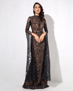 Caroline Geometric Lace High Collar Flared Sleeve Floor Length Dress