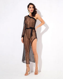 Elena Cut Out Knit Swimsuit Cover Up Dress