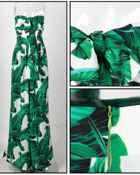 Holly Two Piece  Leaf Print Bandeau and High Waisted Palazzo Pant Set