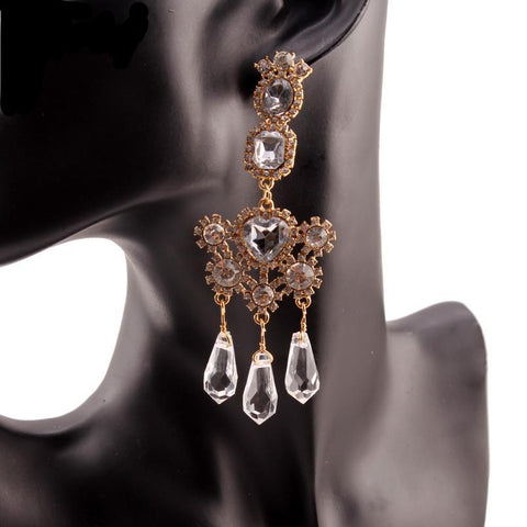 Noelle Rhinestone Crystal Chandelier Pendant Drop Earrings