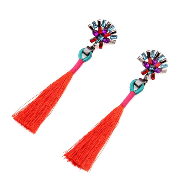 Christina Crystal Flower and Tassel Drop Earrings