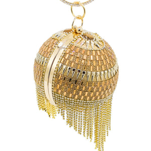 Rachel Diamonte and Pearl Beaded Spherical Clutch Bag