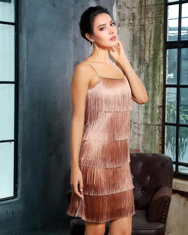 Jade Layered Fringing Party Dress